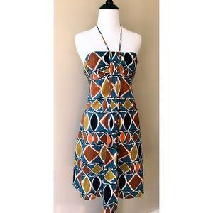 BCBGMaxAzria Geo Print Pleated Front Halter Dress